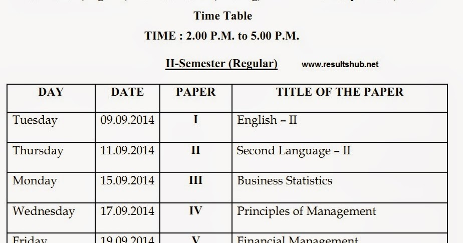 Mam 2nd semester 2014 exam timetable osmania university for Rtmnu time table 4th sem