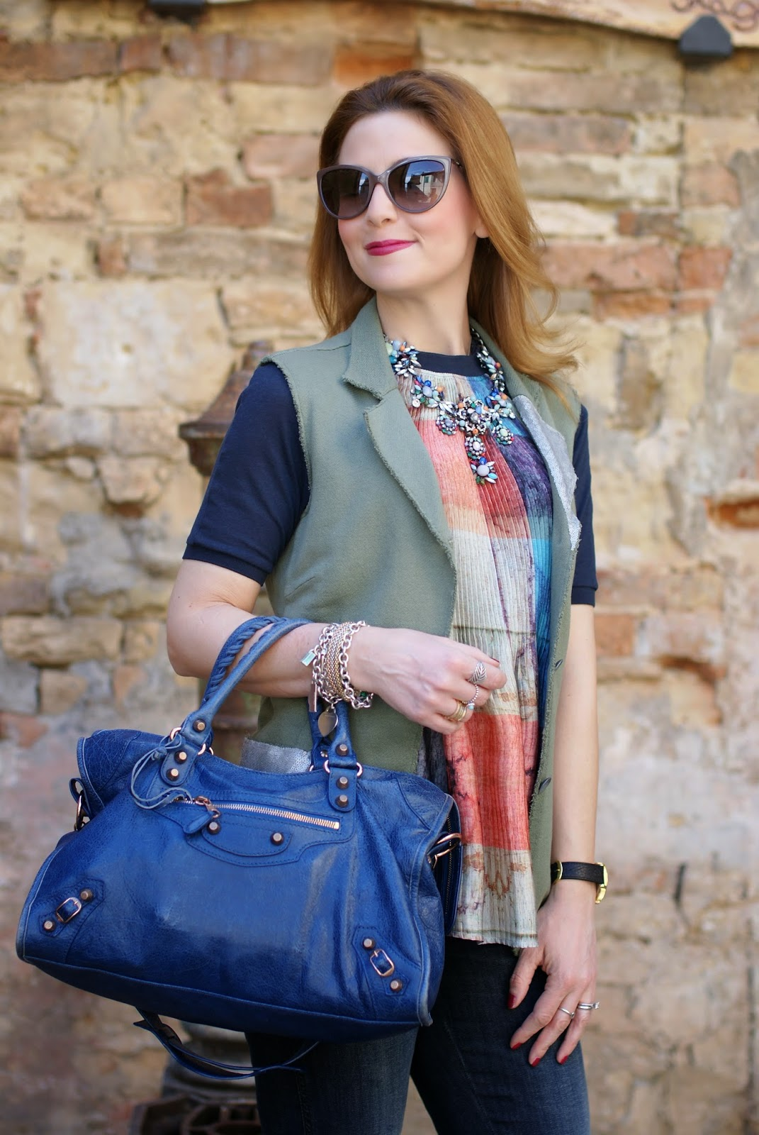 Zara statement necklace, Praio sleeveless jacket, Millelire orologio, Balenciaga City, Fashion and Cookies, fashion blogger