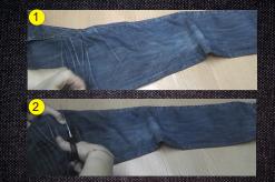 Cesta de jeans hechas con la pierna del pantalón