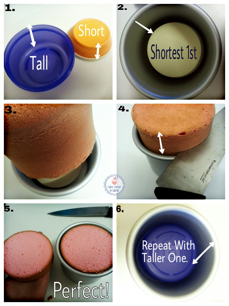 Step by step pictorial of how to torte a cake without a cake leveller like an agbay