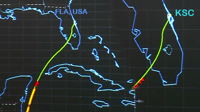 Atlantis – STS135 –Trajectory of approach over the Gulf of Mexico to Florida, USA; close up showing trajectory close to Kennedy Space Centre. NASA-TV 2011.