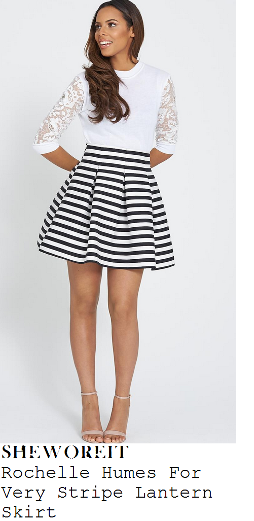 rochelle-humes-black-and-white-striped-mini-skirt-lorraine