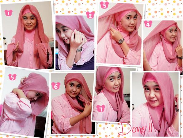 Foto Tutorial Hijab Modern Segi Empat