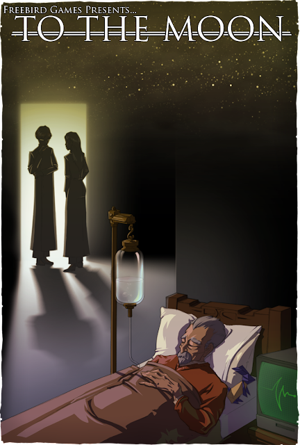 A poster that shows the main characters looking at the patient as he lies in his bed asleep with an IV.