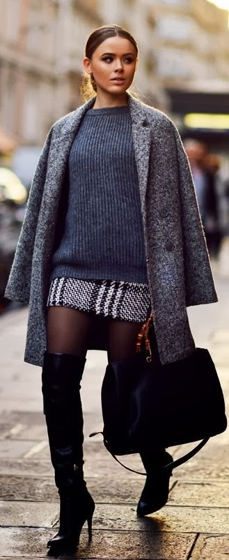 Strange winter outfit grey combination - woolen mini skirt ,sweater, coat with leather black bag and long boots