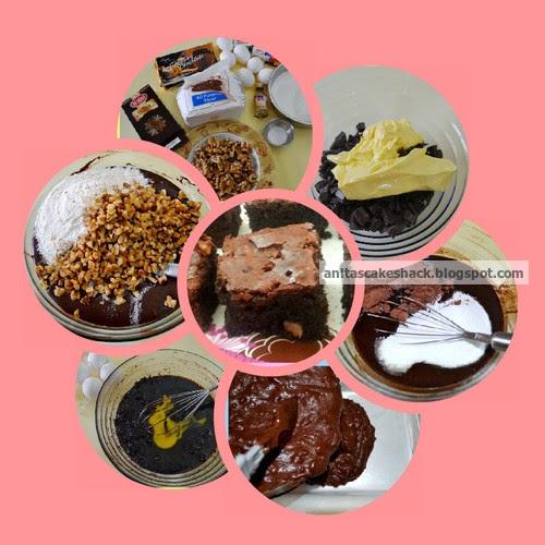 Chocolate walnut brownies, ingredients, eggs, measuring spoons, sugar, all-purpose flour