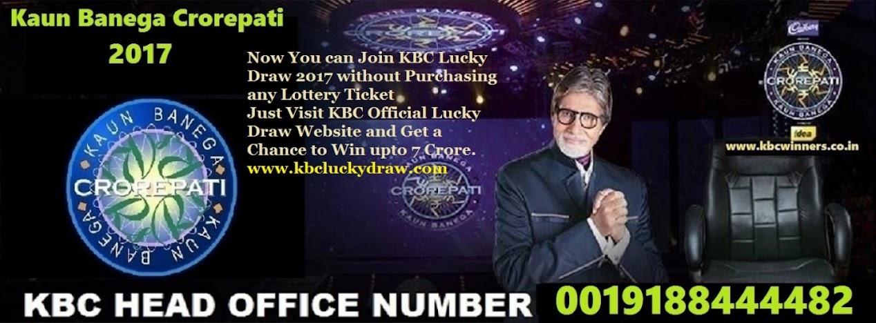 KBC  LOTTERY WINNERS 2017   KBC Head Office Number