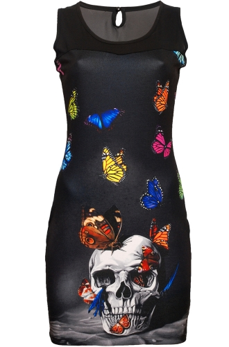 Cold Heart skull and butterfly dress