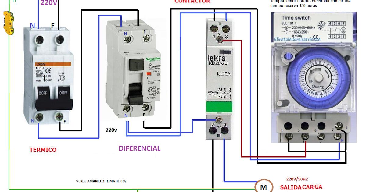 Temporizador horario electronico con contactor monofasico - Temporizadores de luz ...