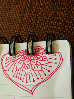 heart doodle in redd