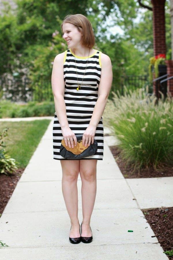 LB(Striped)D | Something Good, piperlime dress, nine west heels, half united necklace