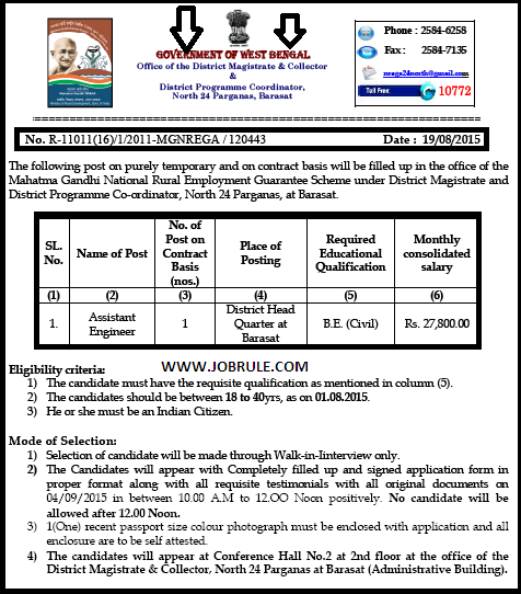 North 24 Parganas MGNREGA Latest Assistant Engineer Recruitment Advertisement & Application Form