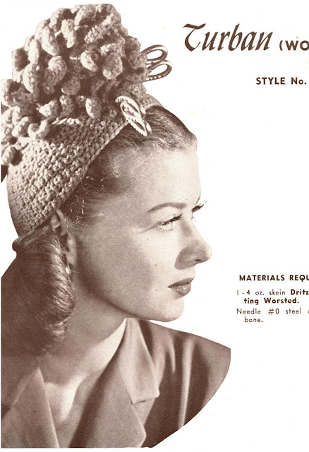 free vintage knitting pattern hat 1940s turban novelty