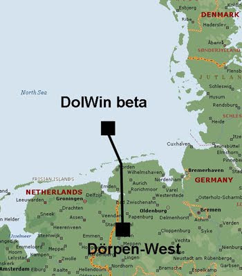 Map of DolWin windfarm in the North Sea