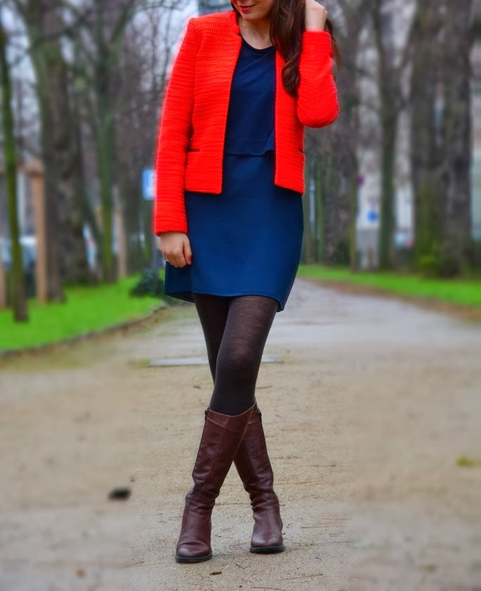 red jacket, dark blue dress