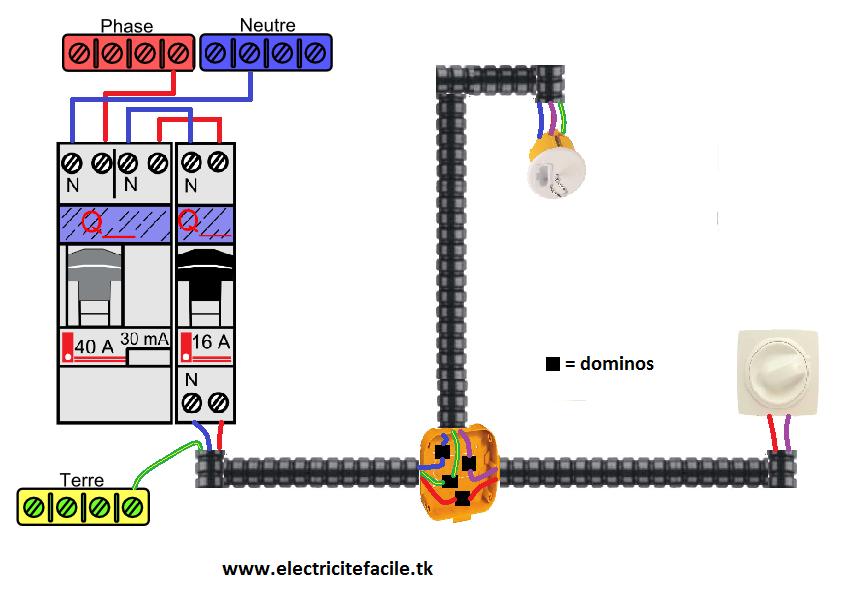sch ma de raccordement electrique variateur de lumi re schema electrique. Black Bedroom Furniture Sets. Home Design Ideas