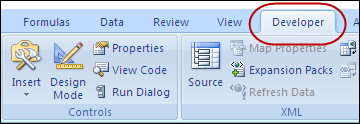 tab developer word 2007