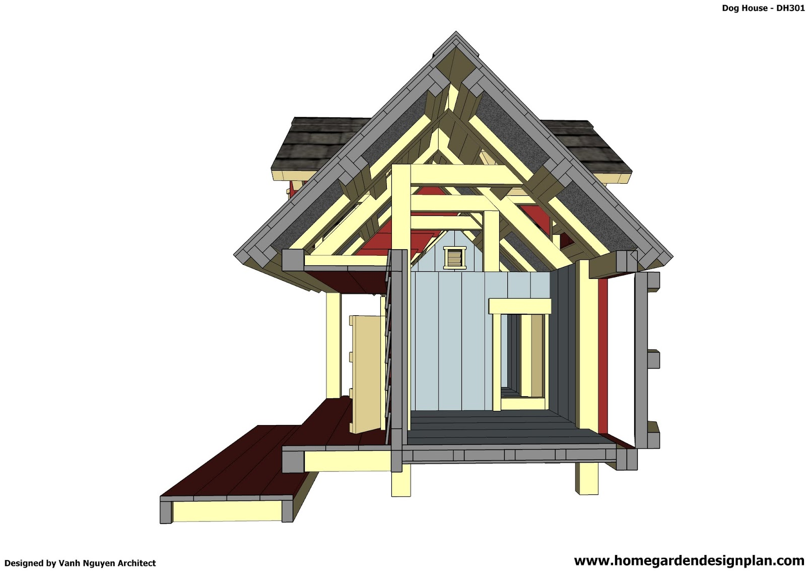 Home Garden Plans Dh301 Insulated Dog House Plans