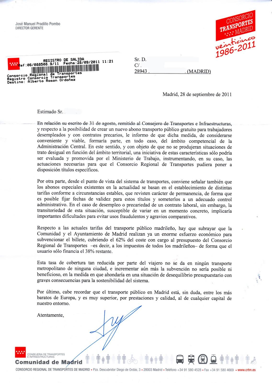 Asamblea de parados y precarios de madrid respuesta del for Oficina del consorcio de transportes de madrid