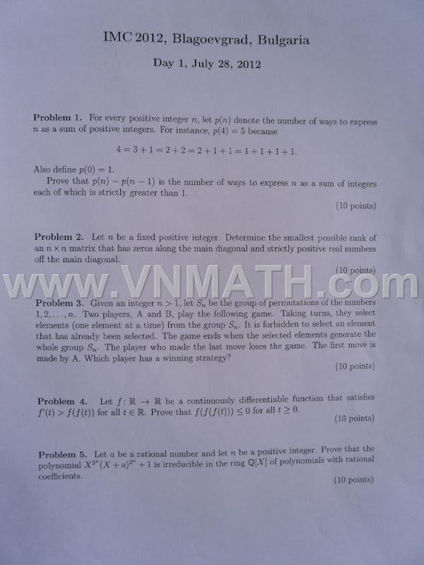 IMC 2012 Problems and solutions, đáp án đề thi olympic toán sinh viên quốc tế 2012