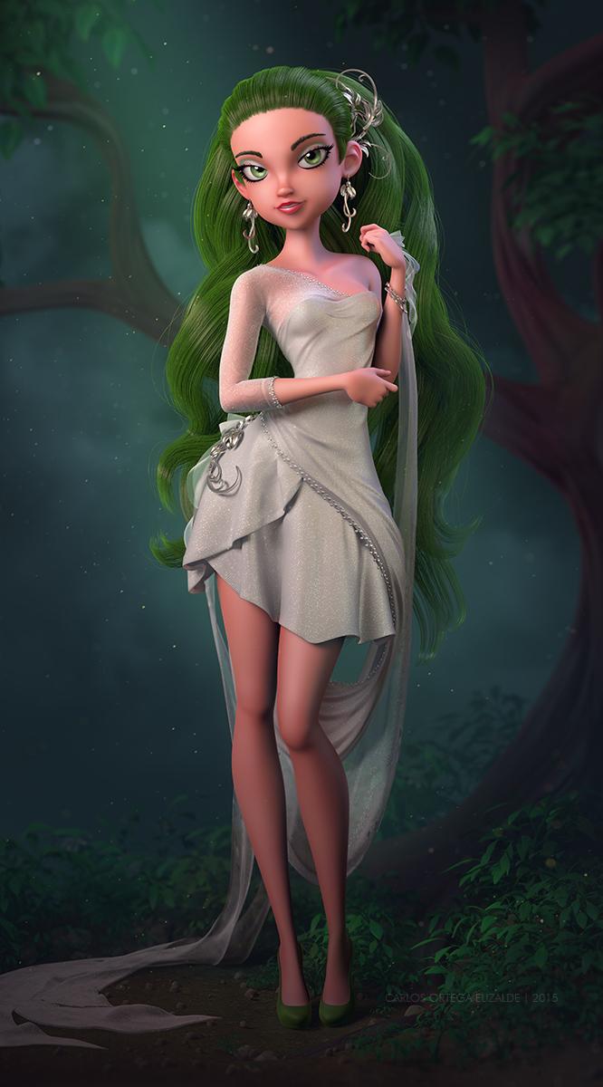 Green Morning, ilustración 3D realizada por el artista mexicano Carlos Ortega Elizalde