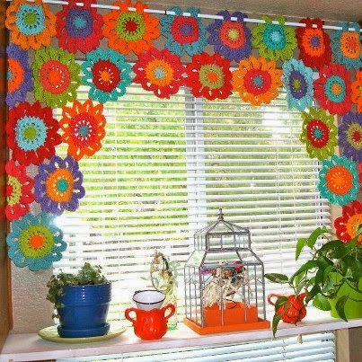 tejidos artesanales en crochet: cortina multicolor tejida ...