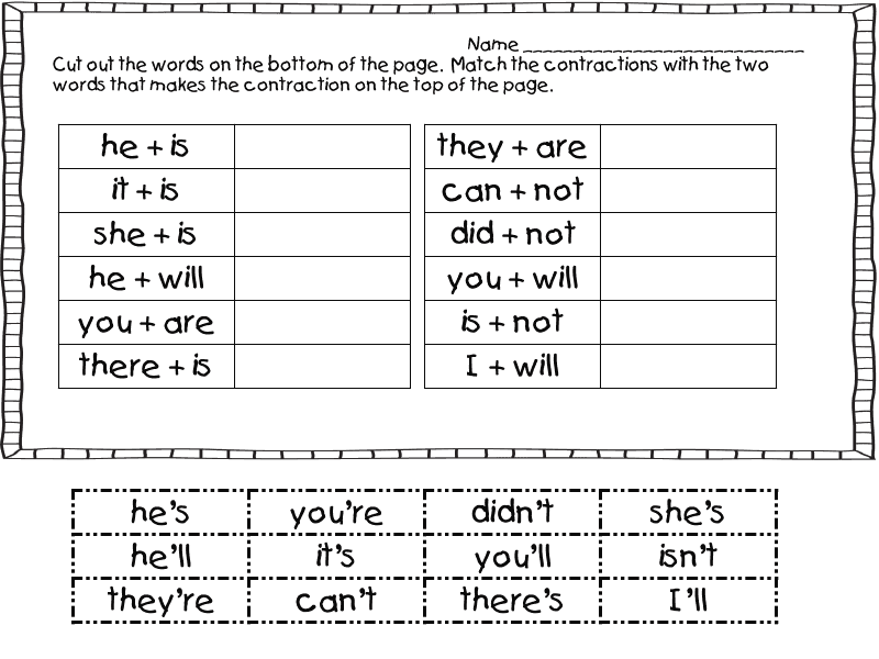 First Grade Contractions Worksheets