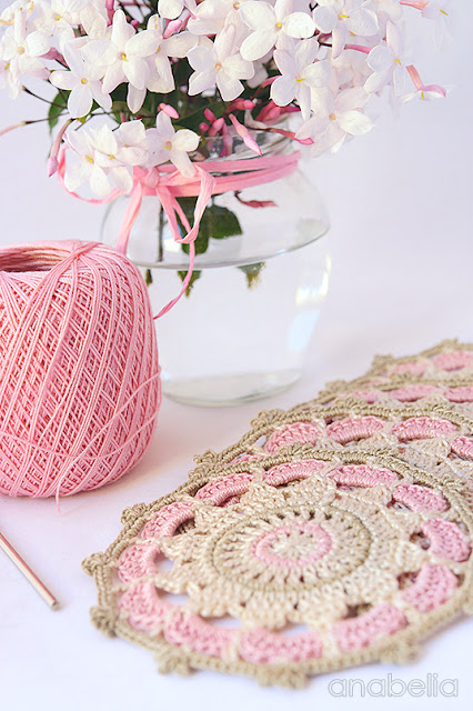 Pink vintage crochet mandalas by Anabelia Craft Design