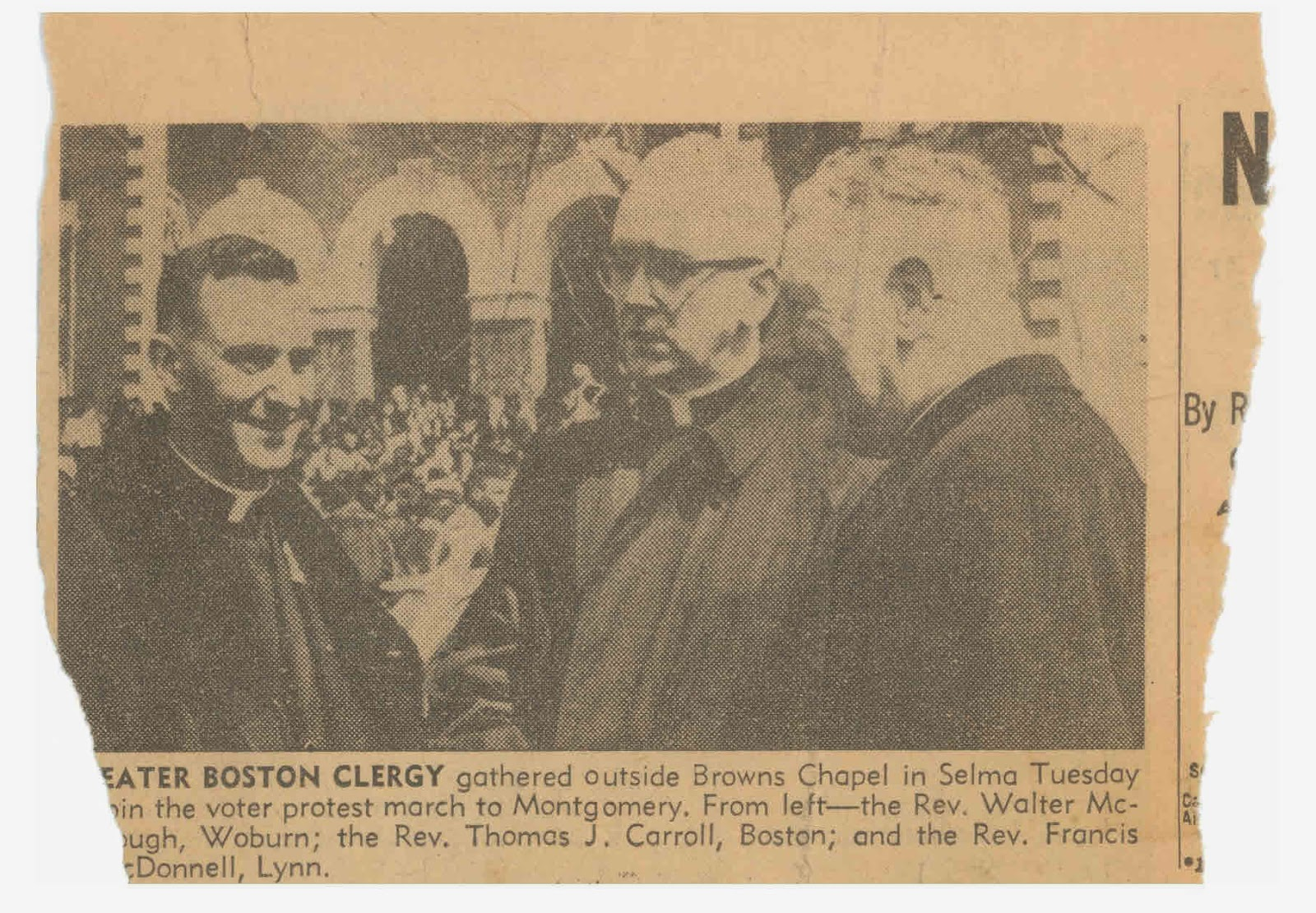Newspaper clipping showing Carroll at Selma