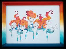 """""""REFLEJOS""""  Lápiz color sobre papel  24,5 cm x 33 cm (enmarcado) - (A LA VENTA )-"""