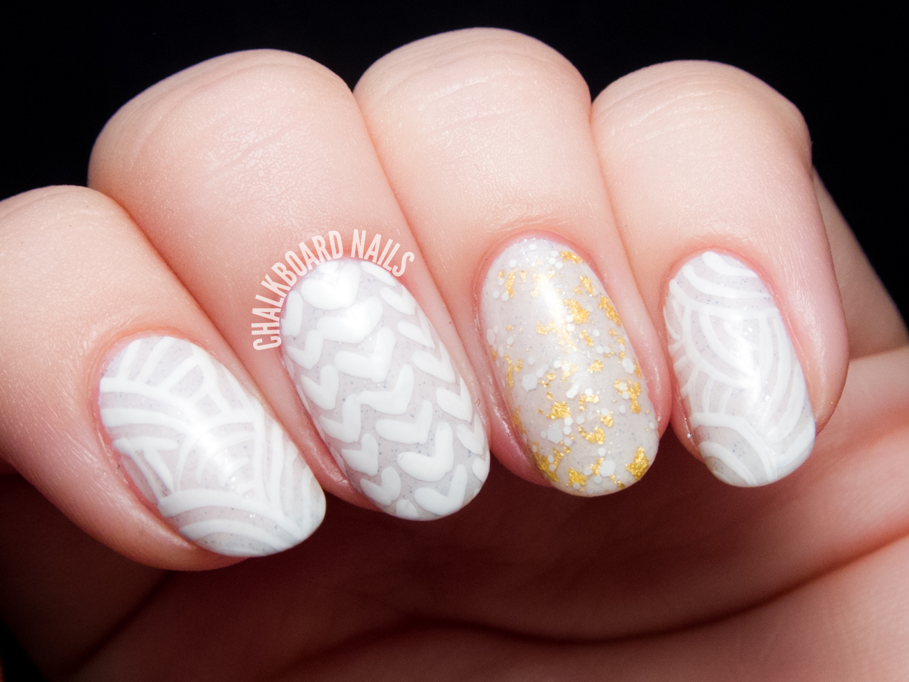 Chunky sweater nail art by @chalkboardnails