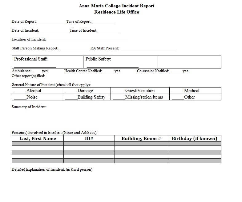 medical incident report form template .