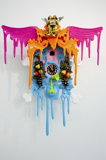 pink, orange, blue modern Stefan Strumbel cuckoo clock