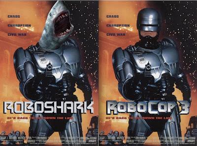 parodie affiches de films avec des requins robocop