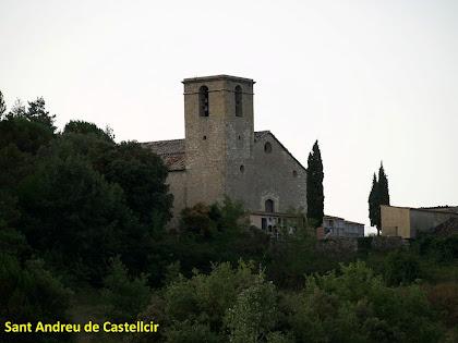L'església de Sant Andreu de Castellcir des del trencall de Cal Jaumet