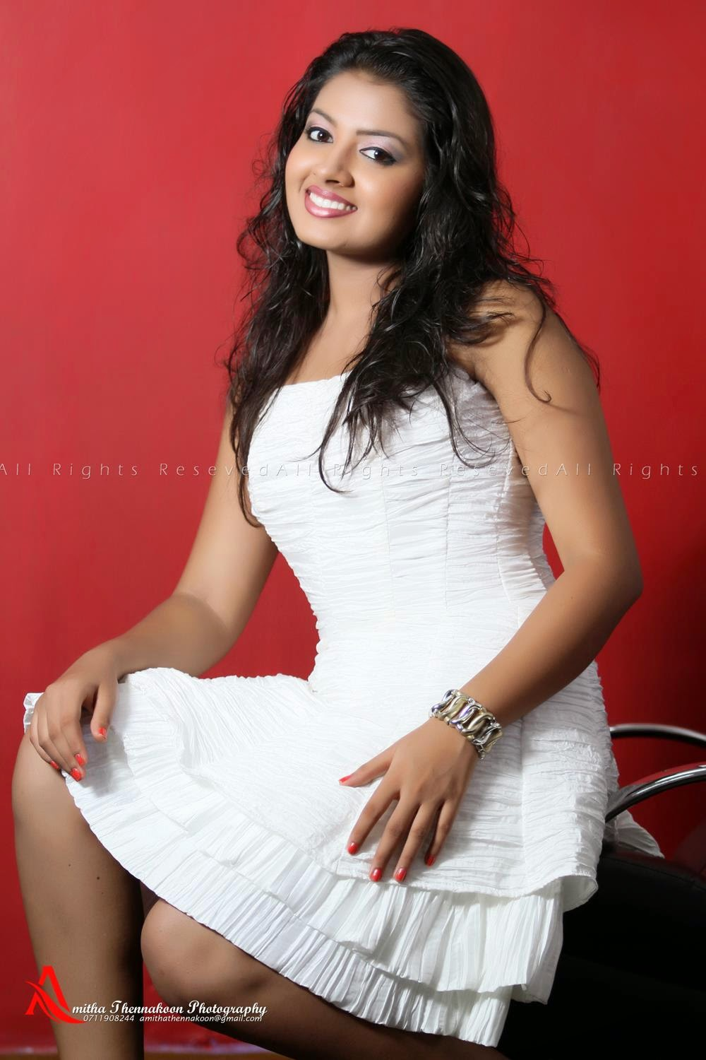 Tharushi Nayanathara short dress
