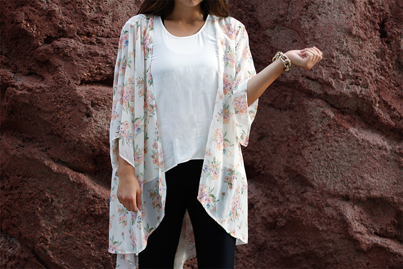 floral kimono outfit and gold bracelet