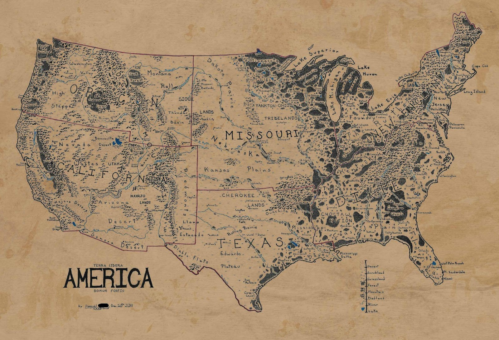 Map of the usa ala lord of the rings images the geek twins and because this is reddit other users quickly stepped up to remove grid lines colorize and antique it heres the final result click to enlarge gumiabroncs Choice Image