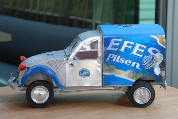 Showcase the good times as vehicles styled out of old beer cans