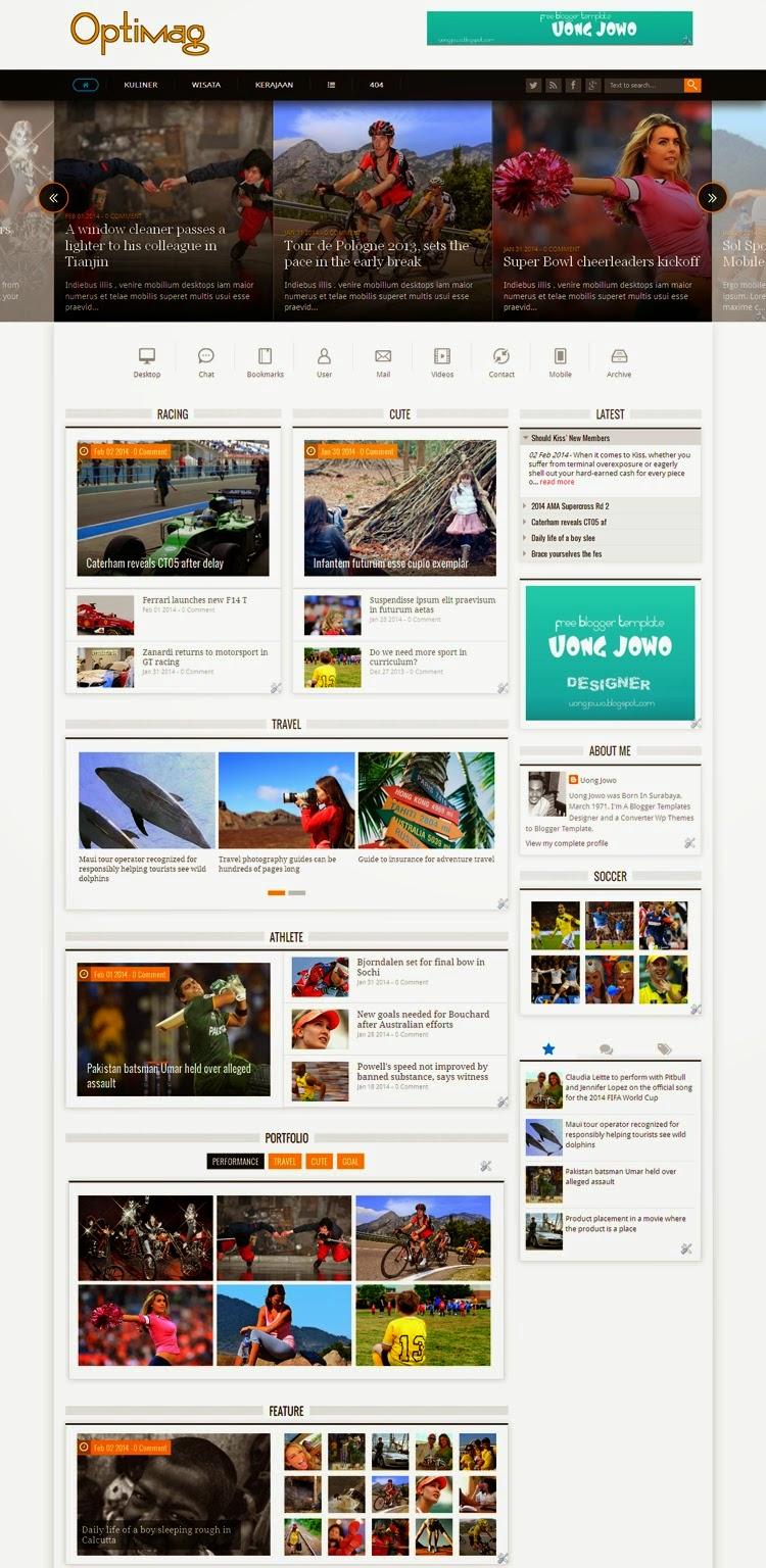 Template Blogspot tin tức, tạp chí Optimag Responsive