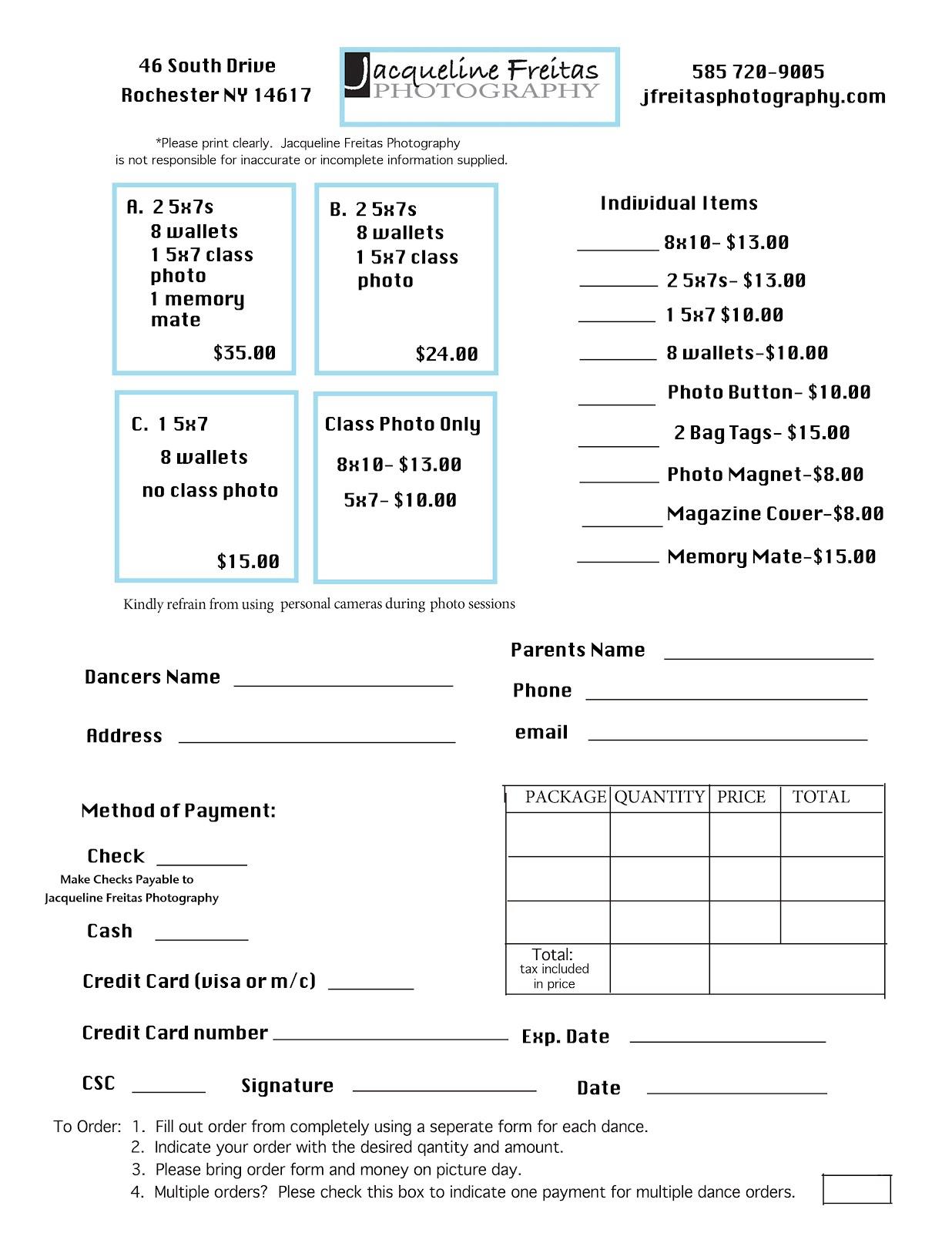 Jacqueline Freitas Photography Dance Order Forms – Photography Order Form