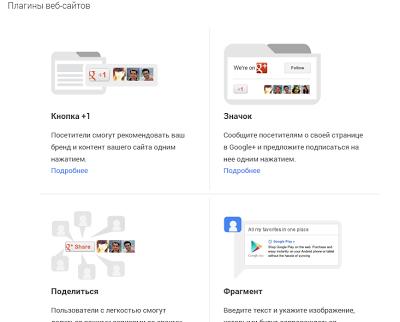 Google+ плагины вебсайтов