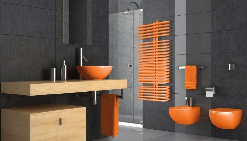 Baños Blanco Con Gris:Decoración de baño moderno con sanitarios naranjas y paredes