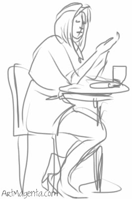 Having breakfast and mobile text, a gesture drawing by Artmagenta.