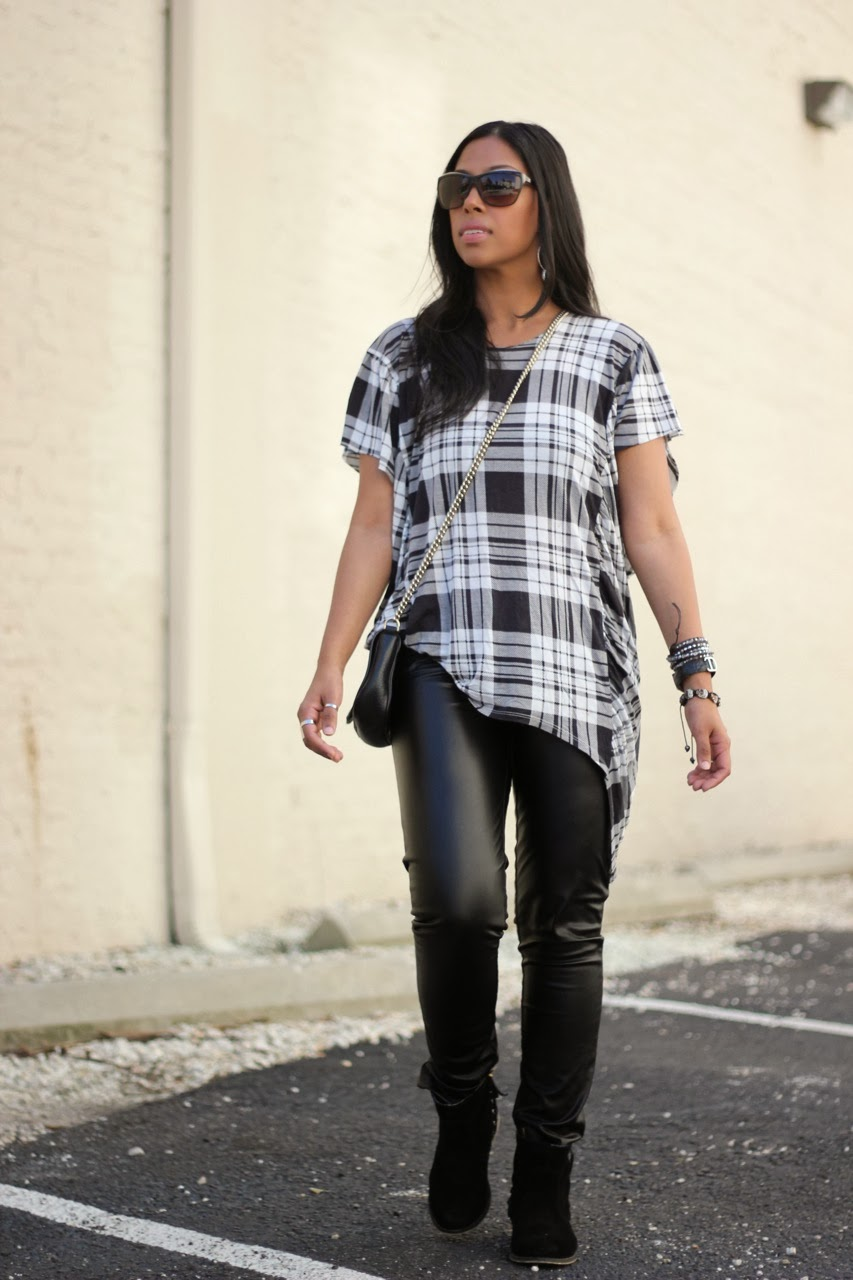 Juicy Couture zip ankle leather pants plaid torn by ronny kobo chanel gucci sunglasses bag ankle boots
