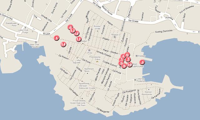 mapa de la ruta por Dubrovnik en un dia