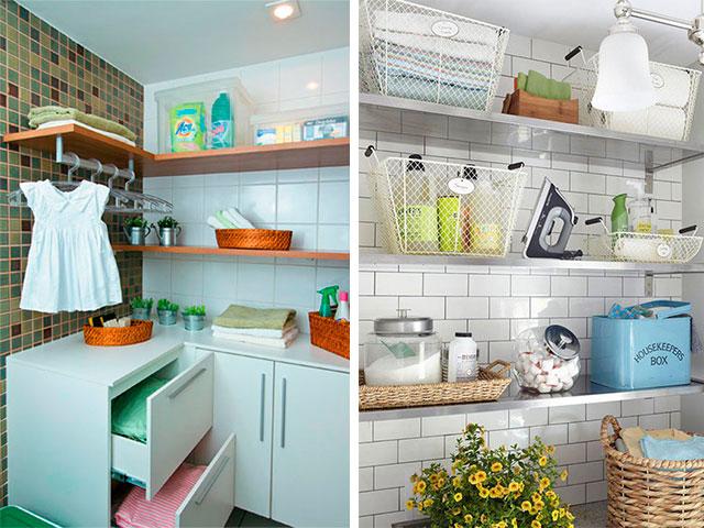 lavanderia com prateleiras para organizar