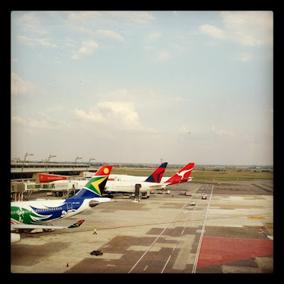 View of the runway from the business class lounge at Johannesburg JNB airport in South Africa