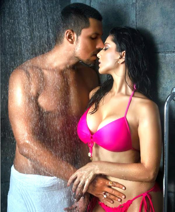 Sunny Leone Hot Sexy Steamy Shower Kissing Scenes With her Co-Actor Randeep Hooda in Jism 2 Spotted a Pink Bikini pink bra pink underwear sunny Leone looks very sexy and hotter