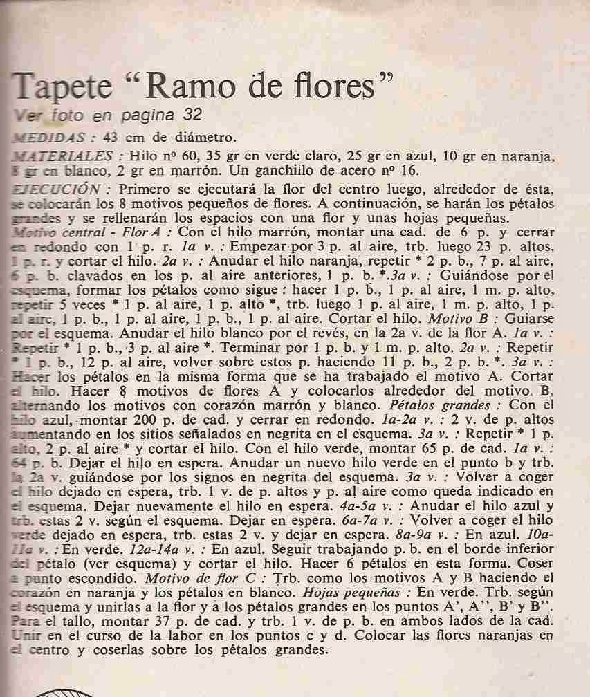 "#44 Tapete ""Ramos de Flores"" a Crochet"